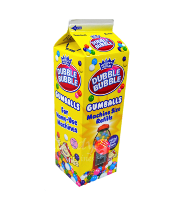 Dubble Bubble Assorted Gumballs Refill Carton 20oz (567g) Bubble Gum Dubble Bubble