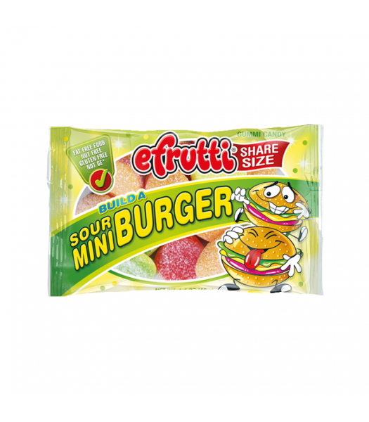 E.Frutti Build A Sour Mini Burger Gummies Share Size - 1.4oz (40g) Sweets and Candy E.Frutti