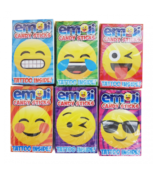Emoji Candy Sticks w/ Tattoo! - 0.52oz (15g) Sweets and Candy