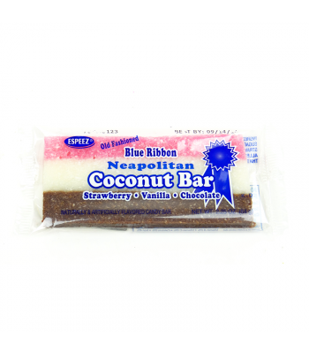 Espeez - Blue Ribbon Neapolitan (Strawberry, Vanilla, Chocolate) Coconut Bar 2.25oz (64g) Sweets and Candy Espeez
