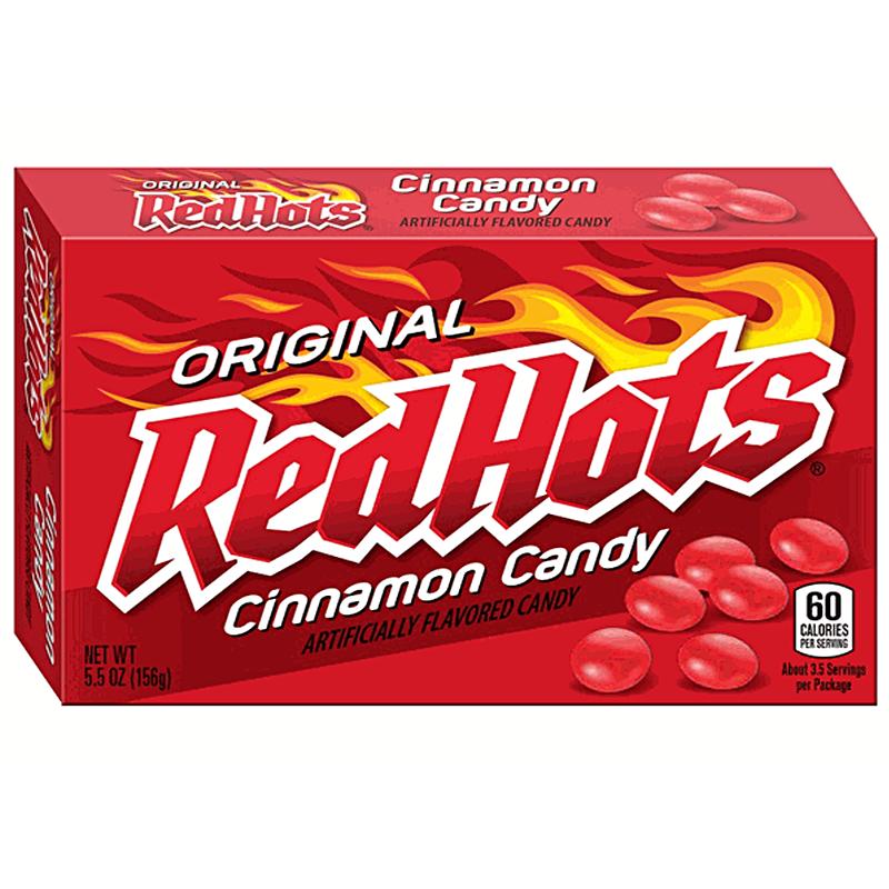 red hots original cinnamon candy   theatre box   5 5oz