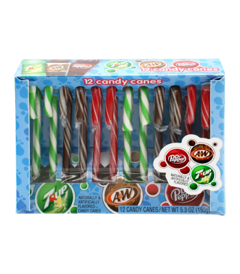 Dr. Pepper, A&W and 7Up Soda Candy Canes - 5.3oz (150g) [Christmas] Sweets and Candy Frankford