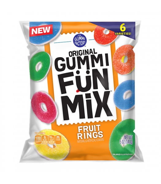 The Gummi Factory Gummi Fun Mix Fruit Rings 5oz (142g) Sweets and Candy