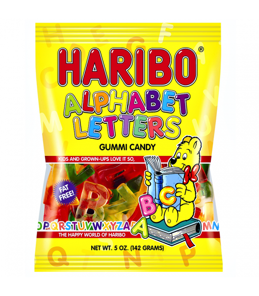 Haribo Alphabet Letters Peg Bag 5oz (142g) Sweets and Candy Haribo