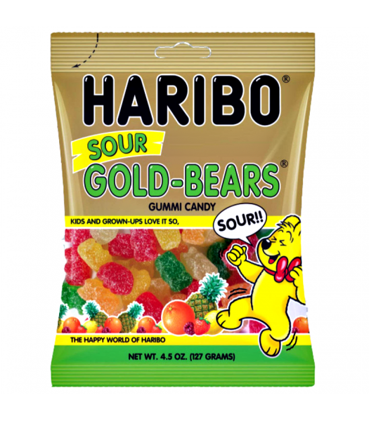 Haribo Gold-Bears - Sour - 4.5oz (127g) Soft Candy Haribo