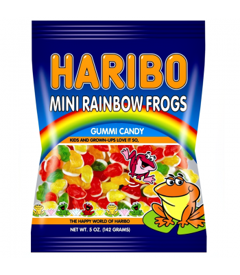 Haribo Mini Rainbow Frogs Peg Bag 5oz (142g) Soft Candy
