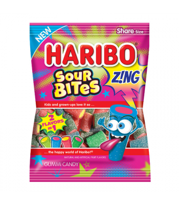 Haribo Zing Sour Bites Peg Bag 4.5oz (127g) Sweets and Candy Haribo
