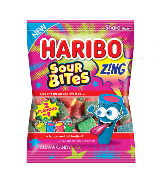 Haribo Zing Sour Bites Peg Bag 4.5oz (127g) Sweets and Candy Haribo
