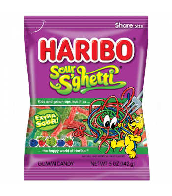 Haribo Sour S'ghetti Peg Bag 5oz (142g) Sweets and Candy Haribo