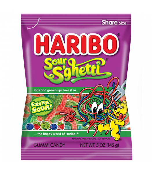 Haribo Sour S'ghetti Peg Bag 5oz (142g) Sweets and Candy Haribo