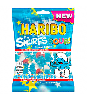 Haribo Sour Smurfs Peg Bag 4oz (113g) Sweets and Candy Haribo