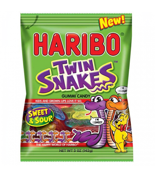 Haribo - Sweet & Sour Twin Snakes - 5oz (142g) Sweets and Candy Haribo