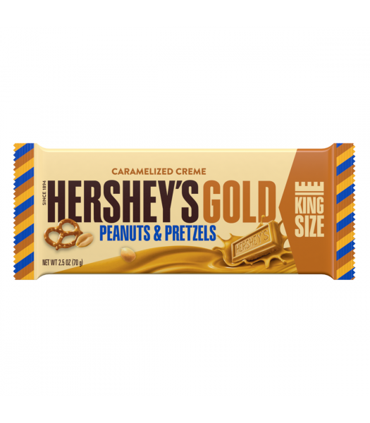 Hershey's Gold Caramelized Crème Bar King Size - Peanuts & Pretzels - 2.5oz (70g) Sweets and Candy Hershey's