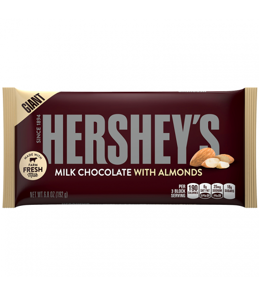 Hershey's Giant Milk Chocolate w/ Almonds Bar 6.8oz (192g) Chocolate, Bars & Treats Hershey's