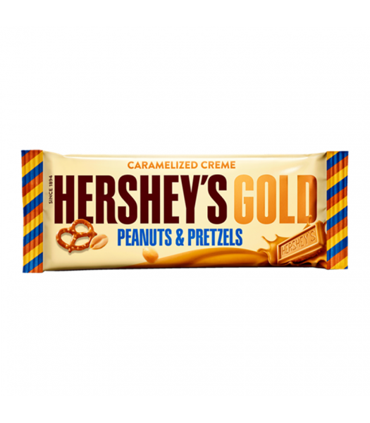 Hershey's Gold Caramelized Crème Bar - Peanuts & Pretzels - 1.4oz (39g) Sweets and Candy Hershey's