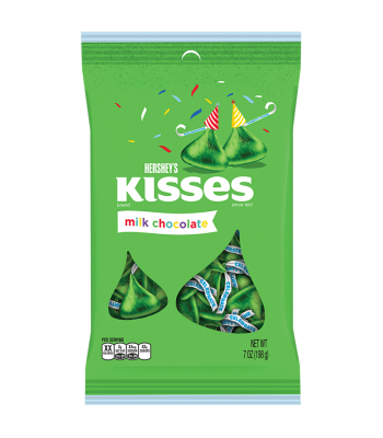 Clearance Special - Hershey's Milk Chocolate Birthday Kisses Green 7oz (198g) ** Best Before: April 2017 ** Clearance Zone