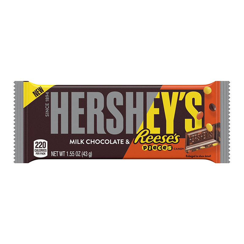 Hersheys Milk Chocolate With Reeses Pieces 155oz 43g