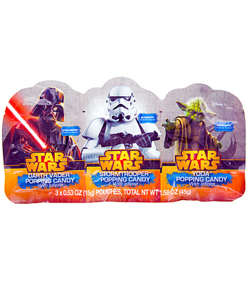 Star Wars Popping Candy with Lollipop 3-Pack 1.58oz (45g) Soft Candy