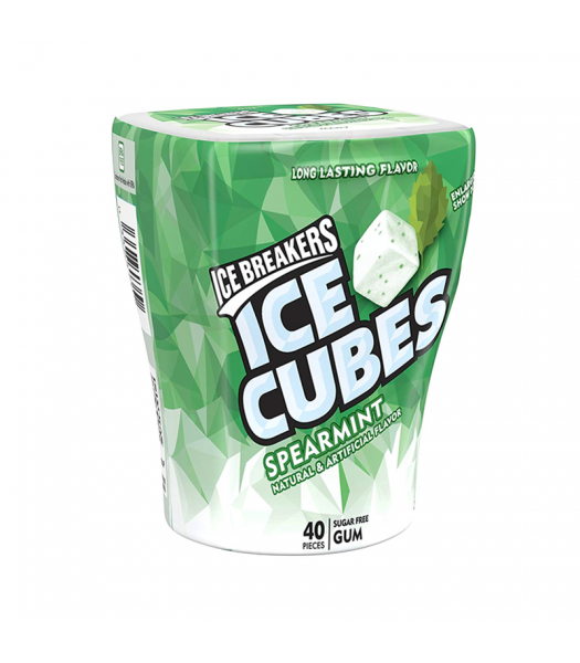 Ice Breakers Ice Cubes Spearmint Gum Bottle Sugar Free  3.24oz (92g) Sweets and Candy Ice Breakers