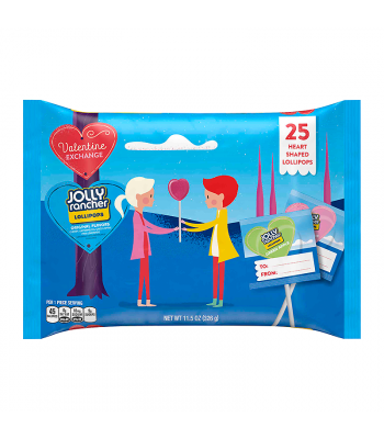 Jolly Rancher Valentine Exchange Original Flavour Lollipops - 11.5oz (326g) Sweets and Candy Jolly Rancher