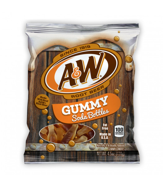 Kenny's A&W Root Beer Gummy Soda Bottles 4.5oz (128g) Soft Candy Kenny's