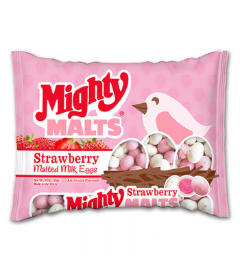 Necco Strawberry Mighty Malts Milk Eggs 4.5oz Sweets and Candy Necco