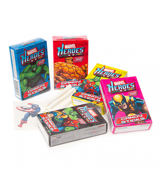 Marvel Heroes Candy Sticks /w Tattoo - 0.52oz (15g) Sweets and Candy