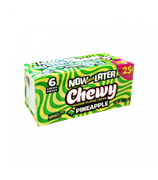 Now & Later 6 Piece CHEWY Pineapple Candy 0.93oz (26g) Sweets and Candy Now & Later