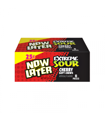 Now & Later 6 Piece EXTREME SOUR Cherry Candy 0.93oz (26g) Sweets and Candy Now & Later
