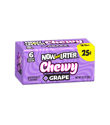 Now & Later 6 Piece CHEWY Grape Candy 0.93oz (26g) Soft Candy Now & Later