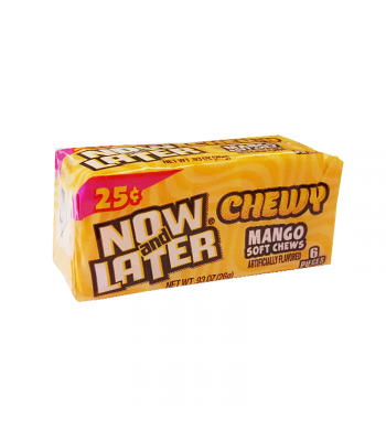 Now & Later 6 Piece CHEWY Mango Fruit Chews 0.93oz (26g) Soft Candy Now & Later
