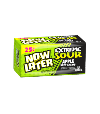 Now & Later 6 Piece  EXTREME SOUR Apple Candy 0.93oz (26g) Soft Candy Now & Later