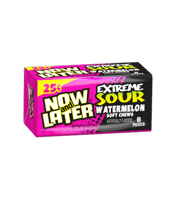 Now & Later 6 Piece  EXTREME SOUR Watermelon Candy 0.93oz (26g) Soft Candy Now & Later