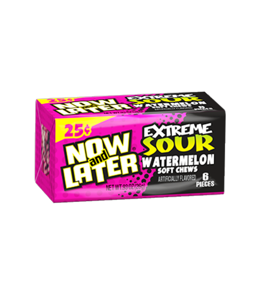 Now & Later 6 Piece EXTREME SOUR Watermelon Candy 0.93oz (26g) Sweets and Candy Now & Later