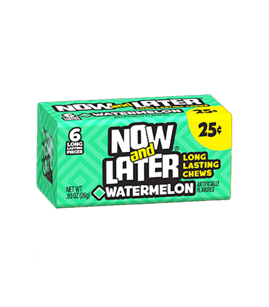 Now & Later 6 Piece Watermelon Candy 0.93oz (26g) Soft Candy Now & Later