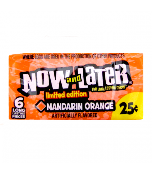 Now & Later 6 Piece Orange Mandarin 0.93oz (26g) Sweets and Candy Now & Later