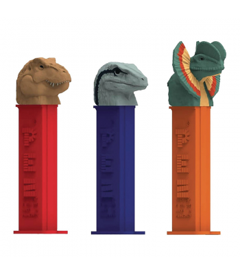 PEZ Jurassic World Dispenser + 2 PEZ Tablet Packs Sweets and Candy PEZ
