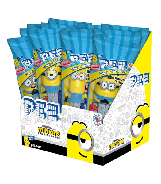 PEZ Minions The Rise of Gru Dispenser + 2 PEZ Candy Packs - 0.58oz (16.4g) Sweets and Candy PEZ