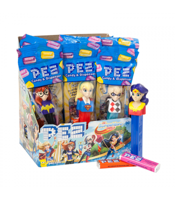 PEZ DC Super Hero Girls Dispenser + 2 PEZ Tablet Packs Sweets and Candy PEZ