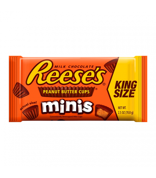 Reese's Peanut Butter Unwrapped Mini Cups King Size 2.5oz (70g) Chocolate, Bars & Treats Reese's