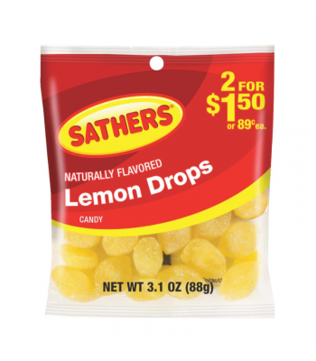 Sathers Lemon Drops - 3.1oz (88g) Sweets and Candy Sathers