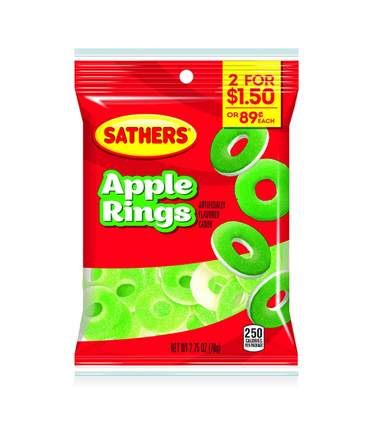 Sathers Gummallos Apple Rings - 2.75oz (78g) Sweets and Candy Sathers