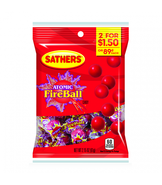 Sathers Atomic Fireball 2.15oz (61g) Sweets and Candy