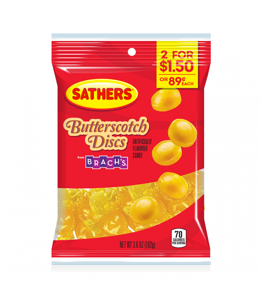 Sathers Butterscotch Discs - 3.6oz (102g) Sweets and Candy Sathers