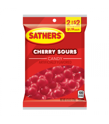 Sathers Cherry Sours - 4.25oz (120g) Sweets and Candy Sathers