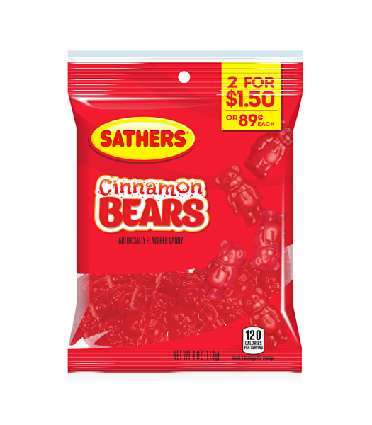 Sathers Cinnamon Bears 4oz (113g) Sweets and Candy