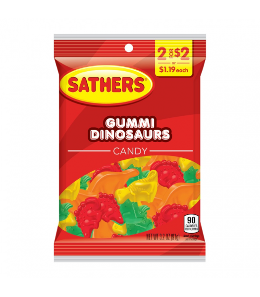 Sathers Gummi Dinosaurs - 3.2oz (91g) Sweets and Candy Sathers