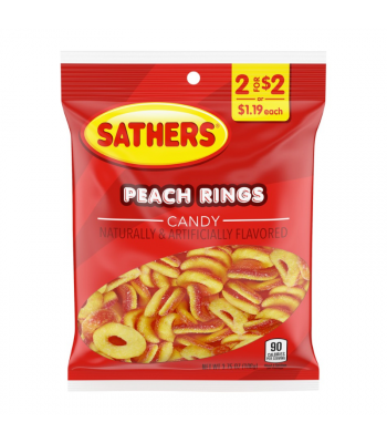 Sathers Peach Rings - 3.75oz (106g) Sweets and Candy Sathers