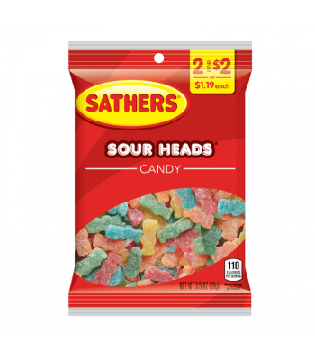Sathers Sour Heads - 4oz (113g) Sweets and Candy Sathers