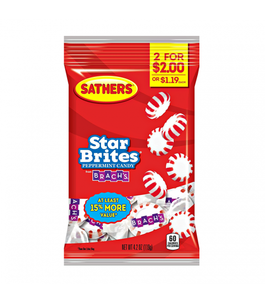 Sathers Peppermint Starbrites 3.6oz (102g) Sweets and Candy